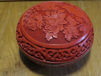 """Chinese red lacquer cinnabar  4""""  round box"""