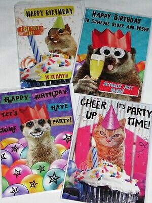 JUST 35p FUNNY ANIMAL BIRTHDAY CARDS X 36, 6 DESIGNS X 6, WRAPPED, FOILED