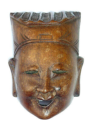 """Vintage Miniature Mask @4""""  Wood Wooden Treen Carved Collectable Old Vgc @2"""""""