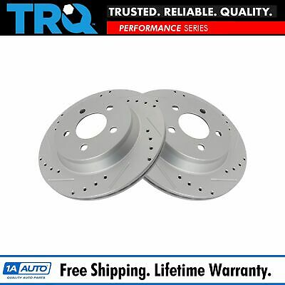 TRQ Performance Brake Rotor Drilled Slotted Rear G-Coated Pair for Ford