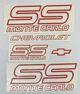 Chevrolet Monte Carlo SS 1987-1988 Restoration Red Vinyl Decals Stickers Kit Alex-Cycles