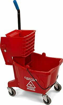 Commercial Mop Bucket with Side Press Wringer 26 Quart Red