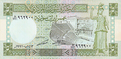5 POUNDS UNC CRISPY BANKNOTE FROM SYRIA 1991 PICK-100e