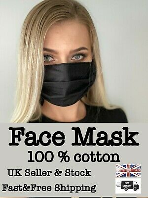 Face Mask Cover Reusable Washable Mouth Protection Breathable 100 % Cotton UK