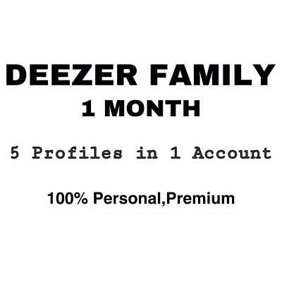 Deezer FAMILY 1 MONTH | 100% Personal | 6 Profiles In 1 Deezer Account