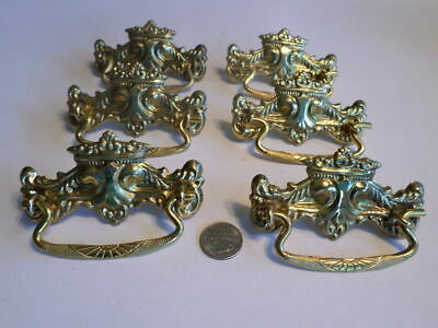 Six Victorian Style Drawer Cabinet Pulls Stamped Brass