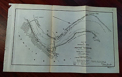 1902 Sketch Map of Mississippi River, Memphis, Tennessee, Old Hen Island