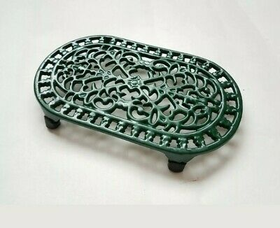 New Vintage French Oval Trivet Cast Iron Trivet Pan Pot Stand  Green
