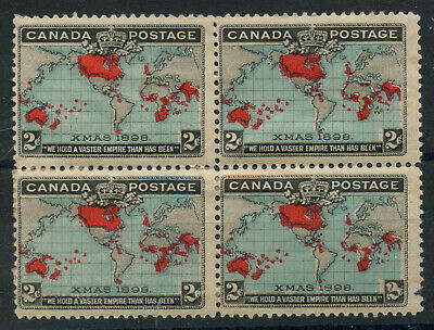 Canada 1898 XMAS stamp Imperial Penny Post 2c deep blue Block of 4 #86b mhr