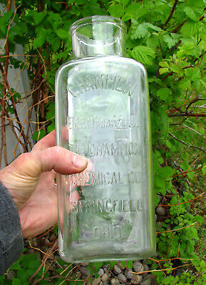 """LARGEST SIZE! old CHAMPION POISON Embalming Fluid bottle embossed 11 1/8"""" tall"""