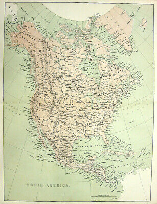 NORTH AMERICA MAP CANADA UNITED STATES MEXICO CUBA ~ 1880 Art Print Engraving