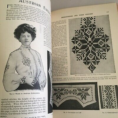 1905 EMBROIDERY Sewing ANTIQUE book EMBROIDERIES & THEIR STITCHES Butterick art