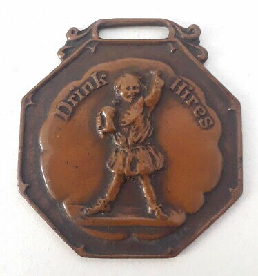Antique Drink Hires Root Beer Metal Watch Fob Embossed Rootbeer Vintage