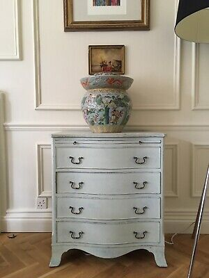 reproduction antique bow fronted bachelor chest of drawers, distress painted