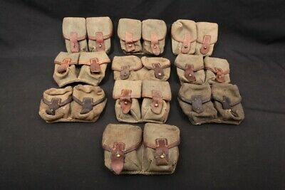 LOT 10x 1930's? Yugoslavian Army Canvas Double Magazine Uniform Ammo Pouch