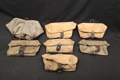 LOT 7x Vintage Various Army Canvas Leather Double Magazine Uniform Ammo Pouches