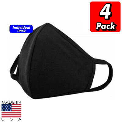 5 x 100% Cotton Face Mask Soft Multi Layer Black Washable Reusable Made In USA
