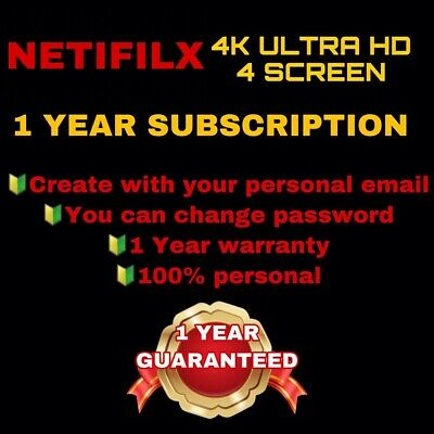 NETFLIX 1 Year SUBSCRIPTION For Personal Email | 1 Year warranty | ULTRA HD