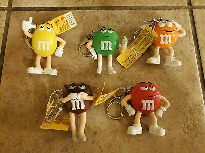 M&M's Key Chains~Yellow/Green/Brown/Red/Orange ~Includes A Bonus Gift