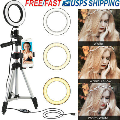 Dimmable Lamp LED Ring Light+Tripod Stand for Camera Phone Photo Video Youtube