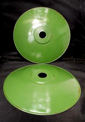 2 Old French Green & White Enamel Coolie Industrial Lamp Shades