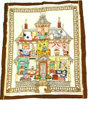 "Vtg Handmade Embroidered Applique Baby Quilt Wall Handing Doll House 35"" x 42"""