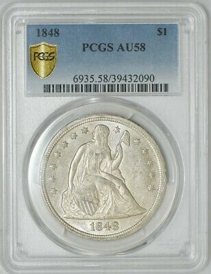 1848 Seated Liberty Dollar $ AU58 Secure Plus PCGS 942384-4