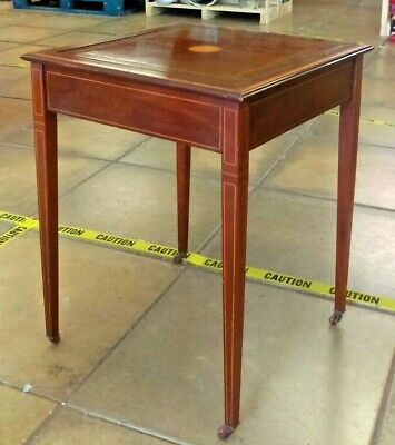 Very Unusual Edwardian Mahogany Inlaid Flip-top Card Table on Casters