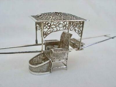 Superb Antique Hallmarked Chinese Silver Sedan Model Carriage.
