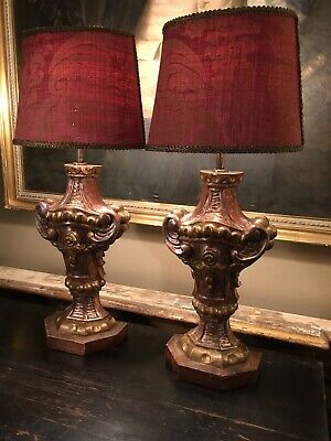 Pair Of Antique Italian Venetian Carved Giltwood Table,lamps