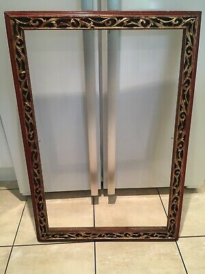 Large Antique Vintage Painted Giltwood Ornate Chinese Piture,mirror Frame