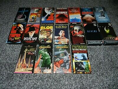 LOT 18 HORROR THRILLER VHS MOVIES w/ORIG. CARDBOARD SLEEVES BLACKOUT THE BLOB +