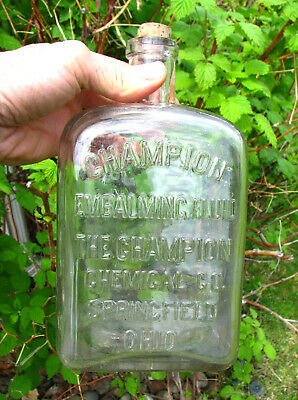 """LARGEST SIZE! square CHAMPION POISON Embalming Fluid bottle embossed 8 3/4"""" tall"""