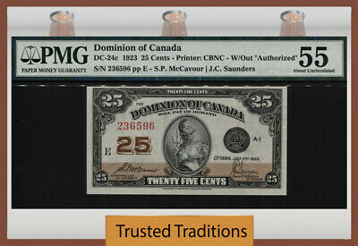 TT DC-24c 1923 DOMINION OF CANADA 25 CENTS W/OUT AUTHORIZED PMG 55 ABOUT UNC!