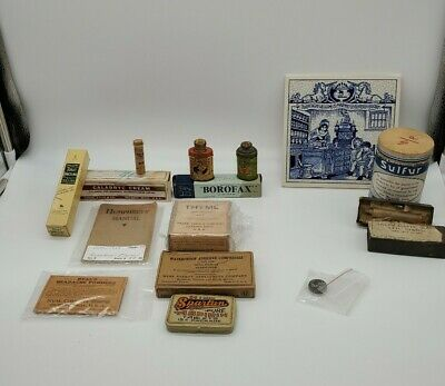 Antique Vintage Lot  PHARMACY DRUGSTORE  MEDICINE Container TIN Advertising