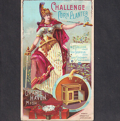 Antique Wood Ice Box 1891 Grand Haven Mich Challenge Corn Planter old Trade Card