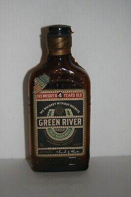Antique  Collectible Green River Whiskey Bottle with Intact Labels