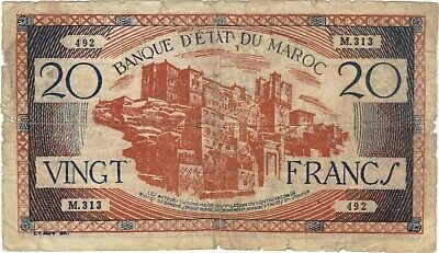 1943 20 Francs Morocco Currency Banknote Note Money Bank Bill Cash Africa Wwii