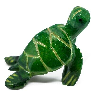 """Unique Hand Carved Marble Stone Dark Green Sea Turtle Figurine Carving 2.25""""L"""