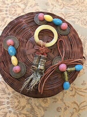 Vintage  Chinese Sewing Basket ~Peking Glass Ring & Beads small with great color