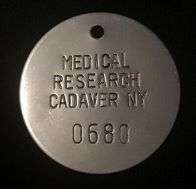 Vintage Medical Research Cadaver NY Crematory Cremation Token Funeral Toe Tag