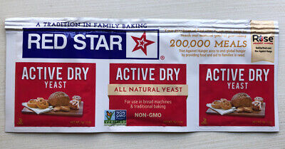 RED STAR ACTIVE DRY YEAST - 1 STRIP = 3 PACKETS 1/4 oz Exp 03/2022 Or Better New