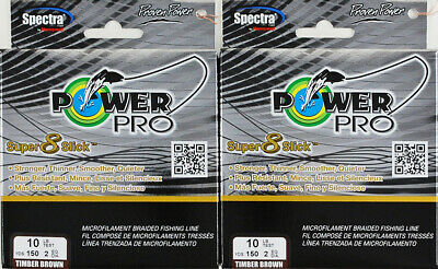 (Lot Of 2) Power Pro Super8Slick 150Yds Braided 10Lb Line Timber Brown L2303