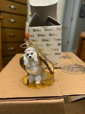 WHITE POODLE ANGEL Ornament HAND PAINTED resin FIGURINE Christmas puppy