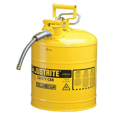 Justrite Type II AccuFlow 5 Gal Safety Gas Can w/ 1 in. Spout (Yellow)
