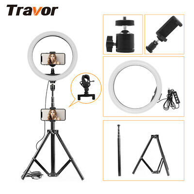 Dimmable LED Ring Video Light Studio Camera Selfie Makeup Lamp Tripod Stand Kits