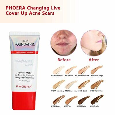 PHOERA Liquid Foundation Full Coverage Velvety Matte flawless lasting Makeup YR