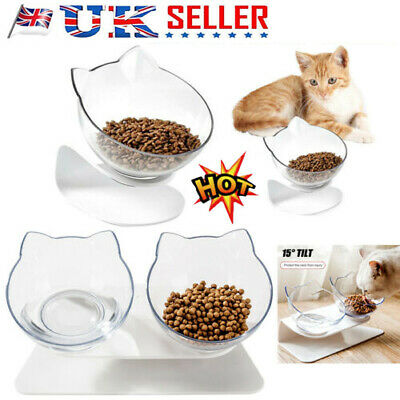 Non-slip Single/Double Bowls w/Raised Stand Pet Food Water Bowl Cats Dog Feeder&