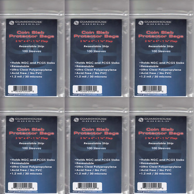 100 NGC PCGS Coins Resealable Slab Protector Bags Clear PVC Free Guardhouse