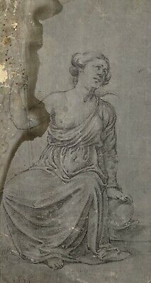 18th CENTURY FRENCH DRAWING - CLASSICAL PARTLY CLAD FEMALE - BEAUTIFULLY DRAWN